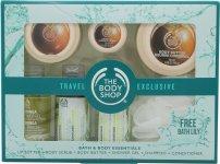 The Body Shop Essentials Gift Set 10ml Shea Lip Butter + 50ml Shea Body Butter + 50ml Shea Body Scrub + 60ml Moringa Shower Gel + 60ml Rainforest Shine Shampoo + 60ml Rainforest Shine Conditioner + Mini Bath Lily